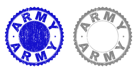Grunge ARMY stamp seals isolated on a white background. Rosette seals with distress texture in blue and grey colors. Vector rubber imitation of ARMY title inside round rosette.