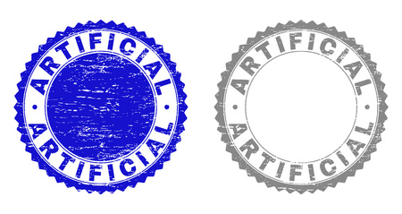 Grunge ARTIFICIAL watermarks isolated on a white background. Rosette seals with grunge texture in blue and gray colors. Vector rubber imprint of ARTIFICIAL caption inside round rosette. Illustration