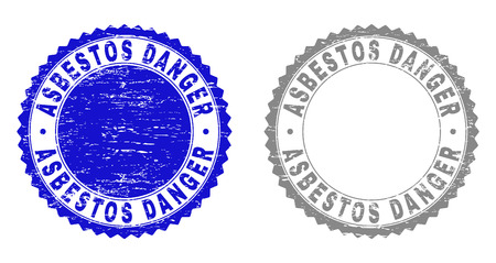 Grunge ASBESTOS DANGER stamp seals isolated on a white background. Rosette seals with grunge texture in blue and grey colors. Vector rubber overlay of ASBESTOS DANGER title inside round rosette.