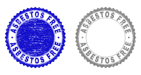 Grunge ASBESTOS FREE stamp seals isolated on a white background. Rosette seals with grunge texture in blue and gray colors. Vector rubber imitation of ASBESTOS FREE tag inside round rosette. Illustration