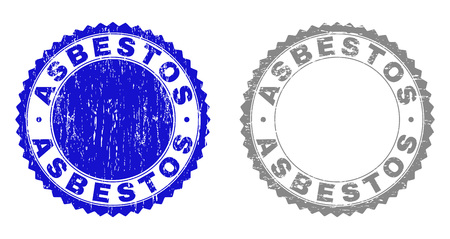 Grunge ASBESTOS stamp seals isolated on a white background. Rosette seals with distress texture in blue and grey colors. Vector rubber watermark of ASBESTOS text inside round rosette.