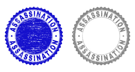 Grunge ASSASSINATION stamp seals isolated on a white background. Rosette seals with grunge texture in blue and gray colors. Vector rubber watermark of ASSASSINATION text inside round rosette.