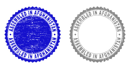 Grunge ASSEMBLED IN AFGHANISTAN stamp seals isolated on a white background. Rosette seals with distress texture in blue and grey colors.