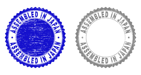 Grunge ASSEMBLED IN JAPAN stamp seals isolated on a white background. Rosette seals with grunge texture in blue and grey colors.