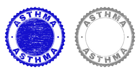 Grunge ASTHMA stamp seals isolated on a white background. Rosette seals with grunge texture in blue and gray colors. Vector rubber imitation of ASTHMA tag inside round rosette. Illustration