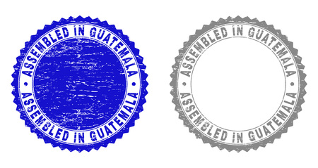 Grunge ASSEMBLED IN GUATEMALA stamp seals isolated on a white background. Rosette seals with distress texture in blue and gray colors. Çizim