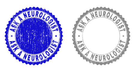 Grunge ASK A NEUROLOGIST stamp seals isolated on a white background. Rosette seals with grunge texture in blue and grey colors. Vector rubber overlay of ASK A NEUROLOGIST text inside round rosette. Ilustrace