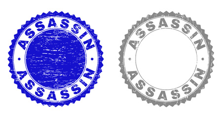 Grunge ASSASSIN stamp seals isolated on a white background. Rosette seals with grunge texture in blue and grey colors. Vector rubber overlay of ASSASSIN caption inside round rosette.