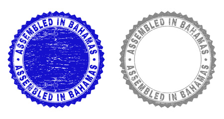 Grunge ASSEMBLED IN BAHAMAS stamp seals isolated on a white background. Rosette seals with distress texture in blue and grey colors. Çizim