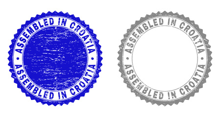 Grunge ASSEMBLED IN CROATIA stamp seals isolated on a white background. Rosette seals with grunge texture in blue and gray colors. Çizim