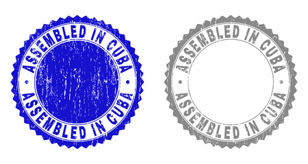 Grunge ASSEMBLED IN CUBA stamp seals isolated on a white background. Rosette seals with grunge texture in blue and gray colors. Vector rubber imprint of ASSEMBLED IN CUBA title inside round rosette.