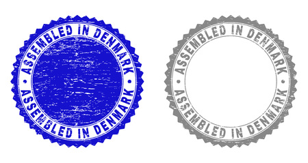 Grunge ASSEMBLED IN DENMARK stamp seals isolated on a white background. Rosette seals with grunge texture in blue and gray colors.
