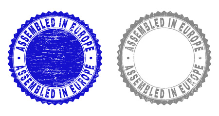 Grunge ASSEMBLED IN EUROPE stamp seals isolated on a white background. Rosette seals with grunge texture in blue and gray colors.
