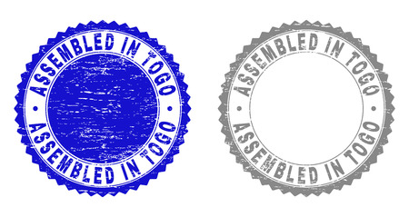 Grunge ASSEMBLED IN TOGO stamp seals isolated on a white background. Rosette seals with grunge texture in blue and grey colors. Vector rubber overlay of ASSEMBLED IN TOGO title inside round rosette. Banque d'images - 116384598