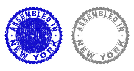 Grunge ASSEMBLED IN NEW YORK stamp seals isolated on a white background. Rosette seals with grunge texture in blue and grey colors.