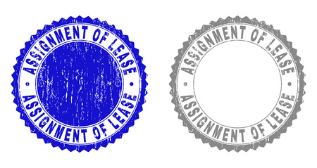 Grunge ASSIGNMENT OF LEASE stamp seals isolated on a white background. Rosette seals with distress texture in blue and grey colors.