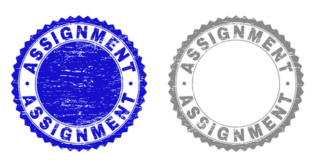 Grunge ASSIGNMENT stamp seals isolated on a white background. Rosette seals with distress texture in blue and gray colors. Vector rubber overlay of ASSIGNMENT label inside round rosette. Vetores