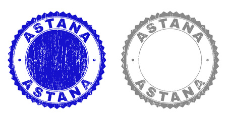 Grunge ASTANA stamp seals isolated on a white background. Rosette seals with grunge texture in blue and grey colors. Vector rubber watermark of ASTANA label inside round rosette.