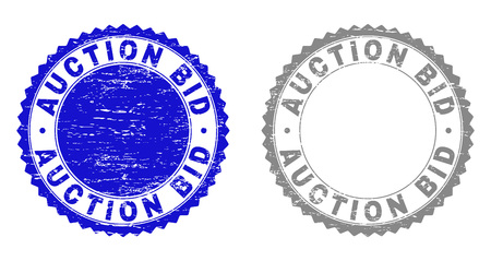 Grunge AUCTION BID stamp seals isolated on a white background. Rosette seals with grunge texture in blue and gray colors. Vector rubber imprint of AUCTION BID title inside round rosette.  イラスト・ベクター素材
