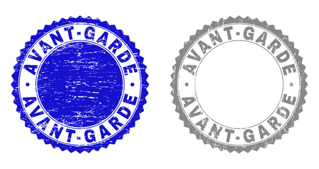 Grunge AVANT-GARDE stamp seals isolated on a white background. Rosette seals with grunge texture in blue and gray colors. Vector rubber overlay of AVANT-GARDE text inside round rosette. Illustration