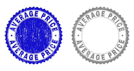 Grunge AVERAGE PRICE stamp seals isolated on a white background. Rosette seals with grunge texture in blue and gray colors. Vector rubber imprint of AVERAGE PRICE title inside round rosette.