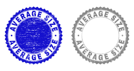 Grunge AVERAGE SIZE stamp seals isolated on a white background. Rosette seals with grunge texture in blue and gray colors. Vector rubber imitation of AVERAGE SIZE label inside round rosette.