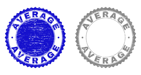 Grunge AVERAGE stamp seals isolated on a white background. Rosette seals with grunge texture in blue and gray colors. Vector rubber imitation of AVERAGE label inside round rosette.