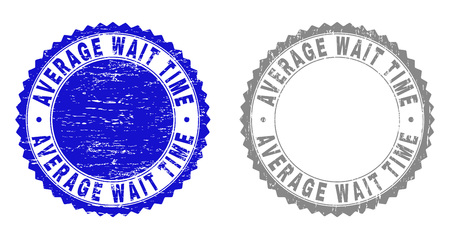 Grunge AVERAGE WAIT TIME stamp seals isolated on a white background. Rosette seals with grunge texture in blue and gray colors. Vector rubber watermark of AVERAGE WAIT TIME tag inside round rosette.