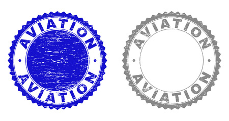 Grunge AVIATION stamp seals isolated on a white background. Rosette seals with grunge texture in blue and gray colors. Vector rubber watermark of AVIATION text inside round rosette.