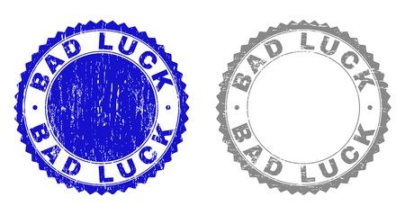 Grunge BAD LUCK stamp seals isolated on a white background. Rosette seals with grunge texture in blue and grey colors. Vector rubber watermark of BAD LUCK tag inside round rosette.