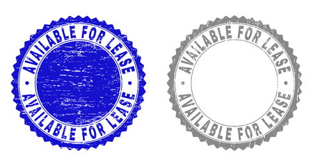 Grunge AVAILABLE FOR LEASE stamps isolated on a white background. Rosette seals with grunge texture in blue and gray colors. Vector rubber imprint of AVAILABLE FOR LEASE text inside round rosette. Banco de Imagens - 116384647