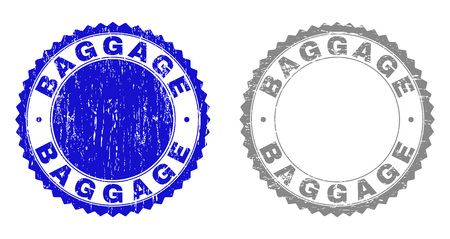 Grunge BAGGAGE stamp seals isolated on a white background. Rosette seals with grunge texture in blue and grey colors. Vector rubber overlay of BAGGAGE text inside round rosette.