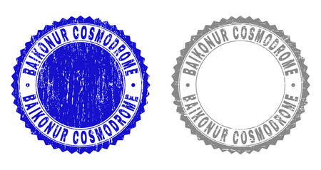 Grunge BAIKONUR COSMODROME stamp seals isolated on a white background. Rosette seals with grunge texture in blue and grey colors. Vector Illustration
