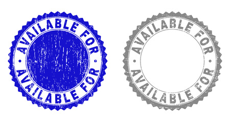Grunge AVAILABLE FOR stamp seals isolated on a white background. Rosette seals with grunge texture in blue and gray colors. Vector rubber imitation of AVAILABLE FOR label inside round rosette.