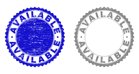 Grunge AVAILABLE stamp seals isolated on a white background. Rosette seals with grunge texture in blue and grey colors. Vector rubber imprint of AVAILABLE title inside round rosette. Illustration
