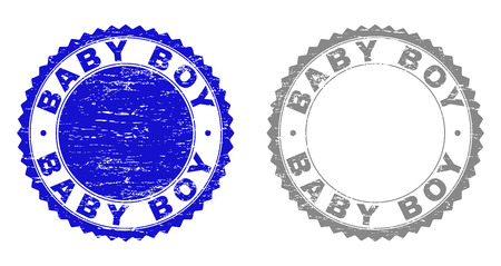 Grunge BABY BOY stamp seals isolated on a white background. Rosette seals with distress texture in blue and grey colors. Vector rubber imprint of BABY BOY label inside round rosette.
