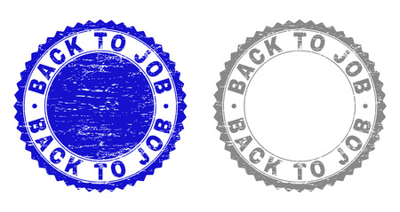 Grunge BACK TO JOB stamp seals isolated on a white background. Rosette seals with grunge texture in blue and grey colors. Vector rubber watermark of BACK TO JOB title inside round rosette. Illustration