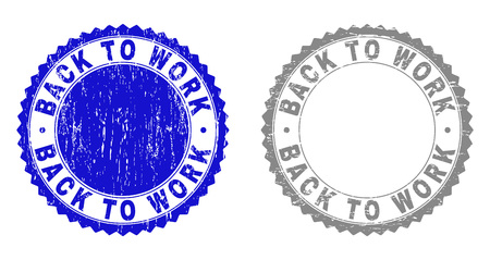 Grunge BACK TO WORK stamp seals isolated on a white background. Rosette seals with distress texture in blue and grey colors. Vector rubber imitation of BACK TO WORK tag inside round rosette. Vettoriali