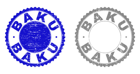Grunge BAKU stamp seals isolated on a white background. Rosette seals with grunge texture in blue and gray colors. Vector rubber watermark of BAKU tag inside round rosette.