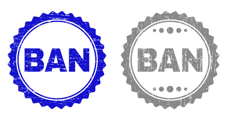 Grunge BAN stamp seals isolated on a white background. Rosette seals with grunge texture in blue and grey colors. Vector rubber imitation of BAN tag inside round rosette.