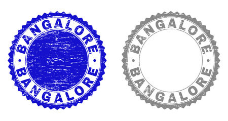 Grunge BANGALORE watermarks isolated on a white background. Rosette seals with grunge texture in blue and grey colors. Vector rubber imitation of BANGALORE label inside round rosette.