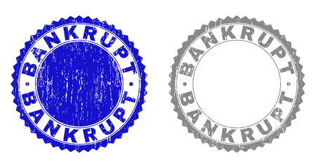 Grunge BANKRUPT stamp seals isolated on a white background. Rosette seals with grunge texture in blue and gray colors. Vector rubber watermark of BANKRUPT title inside round rosette. Ilustração