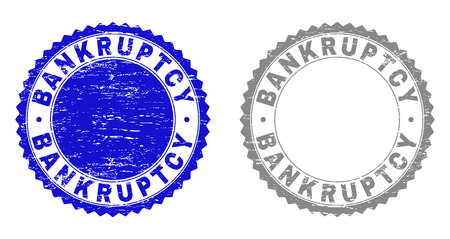 Grunge BANKRUPTCY stamp seals isolated on a white background. Rosette seals with distress texture in blue and grey colors. Vector rubber imitation of BANKRUPTCY text inside round rosette.