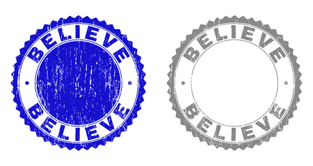 Grunge BELIEVE stamp seals isolated on a white background. Rosette seals with grunge texture in blue and gray colors. Vector rubber watermark of BELIEVE tag inside round rosette.