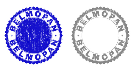 Grunge BELMOPAN stamp seals isolated on a white background. Rosette seals with grunge texture in blue and gray colors. Vector rubber overlay of BELMOPAN caption inside round rosette.