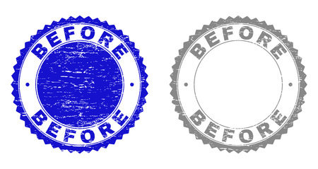 Grunge BEFORE stamp seals isolated on a white background. Rosette seals with grunge texture in blue and grey colors. Vector rubber imitation of BEFORE text inside round rosette.  イラスト・ベクター素材