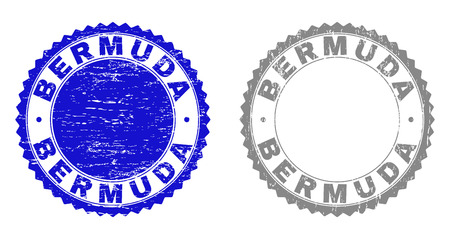 Grunge BERMUDA stamp seals isolated on a white background. Rosette seals with grunge texture in blue and gray colors. Vector rubber imitation of BERMUDA label inside round rosette.