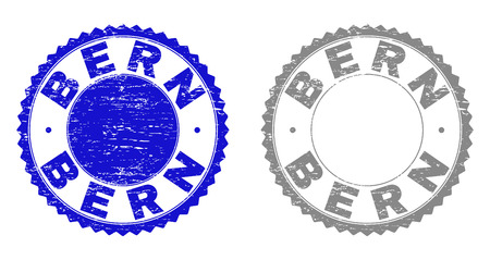Grunge BERN stamp seals isolated on a white background. Rosette seals with grunge texture in blue and grey colors. Vector rubber imitation of BERN title inside round rosette. Banque d'images - 125576759