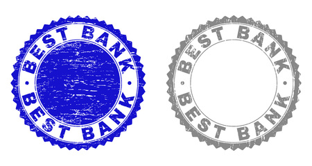 Grunge BEST BANK stamp seals isolated on a white background. Rosette seals with grunge texture in blue and grey colors. Vector rubber imitation of BEST BANK label inside round rosette. Иллюстрация