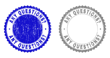 Grunge ANY QUESTIONS? stamp seals isolated on a white background. Rosette seals with grunge texture in blue and grey colors. Vector rubber overlay of ANY QUESTIONS? caption inside round rosette.